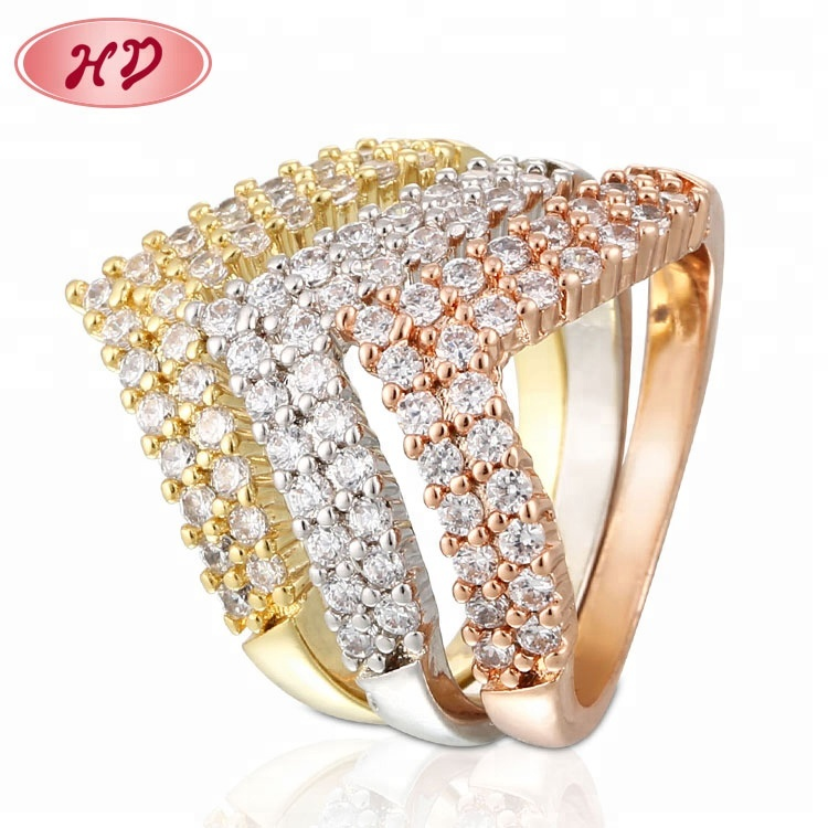 e19ea784061 Pear Shape Diamond Rings Jewelry Women Tri Color Rose Gold Stackable Rings.  Hot sale products