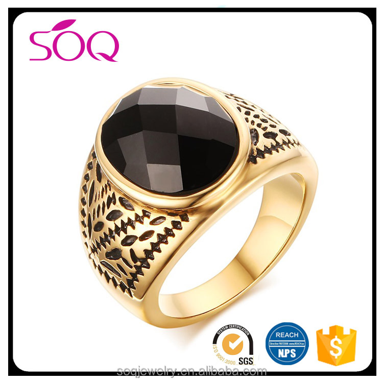 RC-259 Wholesale top quality stainless steel black agate exquisite pattern decoration jewelry one ring