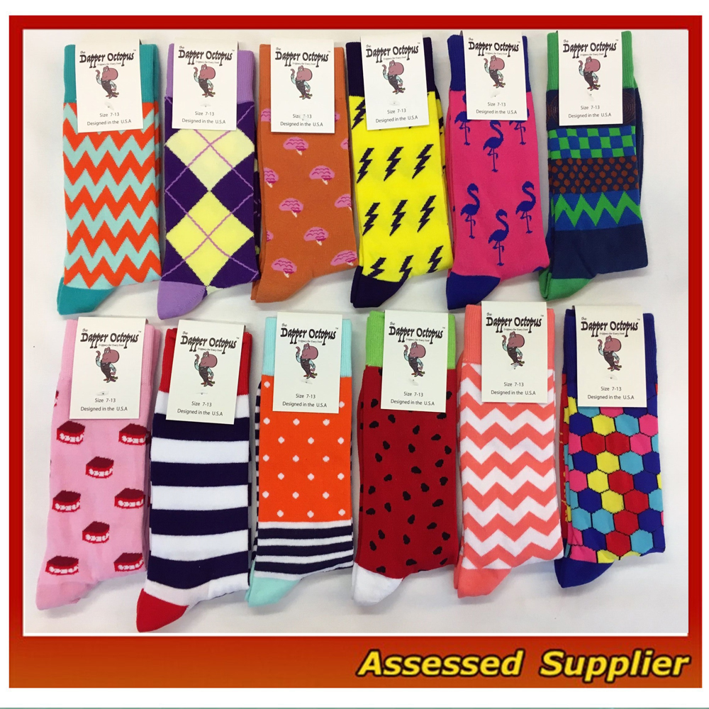Top Quality Men Colorful Happy Combed Cotton Dress Socks, High End Business Dress socks--ZP110