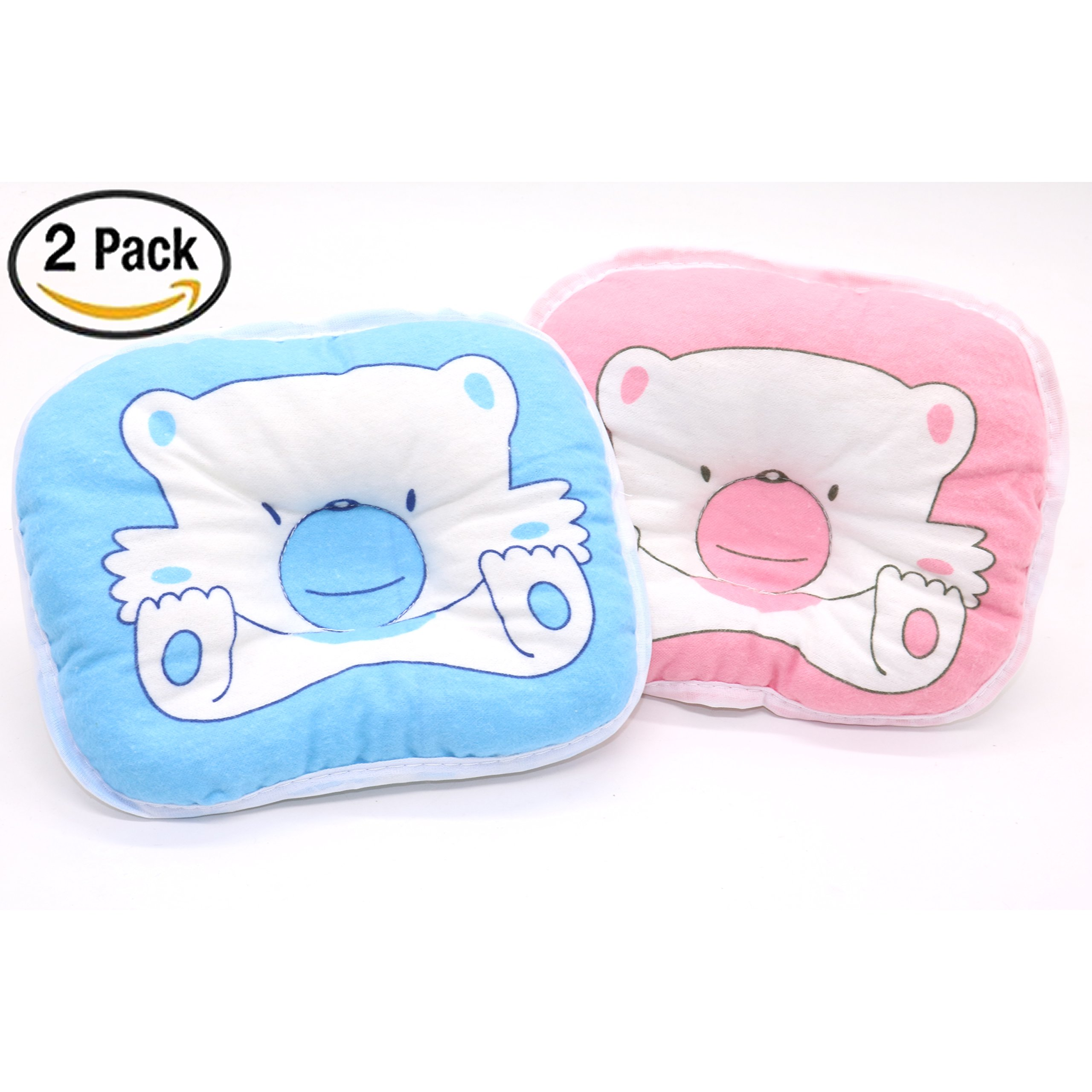 2 Pack Baby Pillow Cute Cartoon Bear Baby Anti-roll Pillow baby anti-bias headrest baby pillow, Pink and Blue