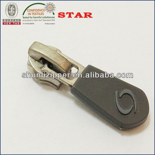 soft pvc zip puller with nickel color slider body for 5# plastic zipper