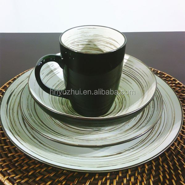 Hand made crackle dinner set porcelain factory direct