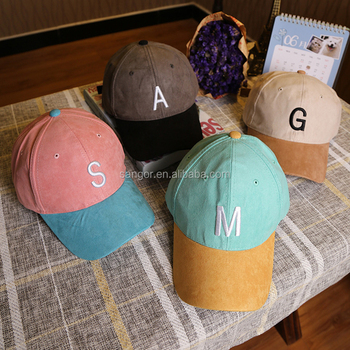 47cf2b62a5a Embroidery Letter Suede Color-blocking Dad Hats Baseball Caps - Buy ...