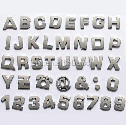 3d Custom Plastic Silver Gold Bronze Adhesive Letters