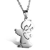 Girls Stainless Steel Necklace Cute Prayer Guardian Angel Pendant