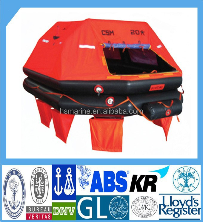 Marine 4 to 50 Persons Throw-Over Type Inflatable Liferaft