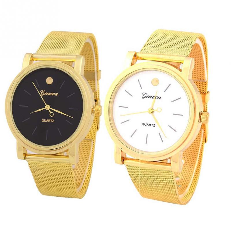 2015 Hot Sale Auto Date Lovers' Watches Relojes Quartz Watch New Fashion Classic Alloy Band Quartz Analog Wrist Watch Golden Dot