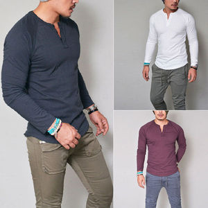 Men V Neck Button T Shirt Casual Slim Long Sleeve Henley T-Shirt Cotton Tops Muscle Tee Shirts 2018