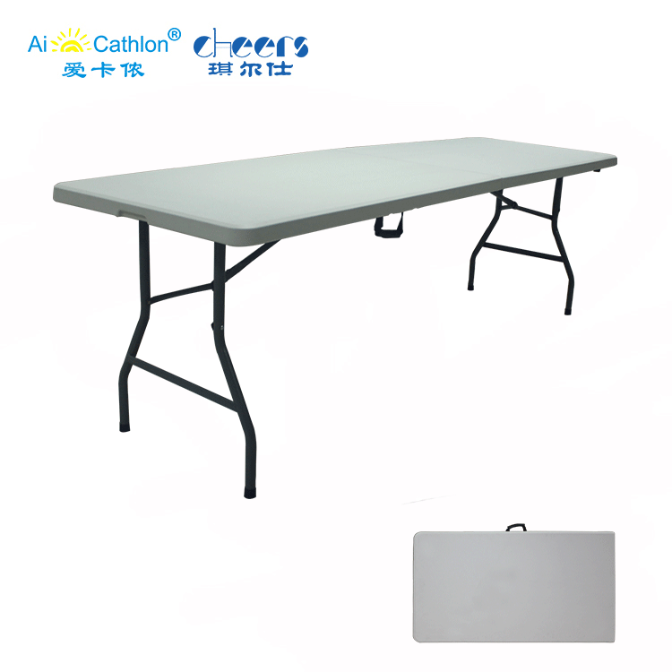 HDPE Material BBQ 240cm 8ft Suitcase Folding <strong>Tables</strong> for Parties Foldable Picnic <strong>Table</strong>