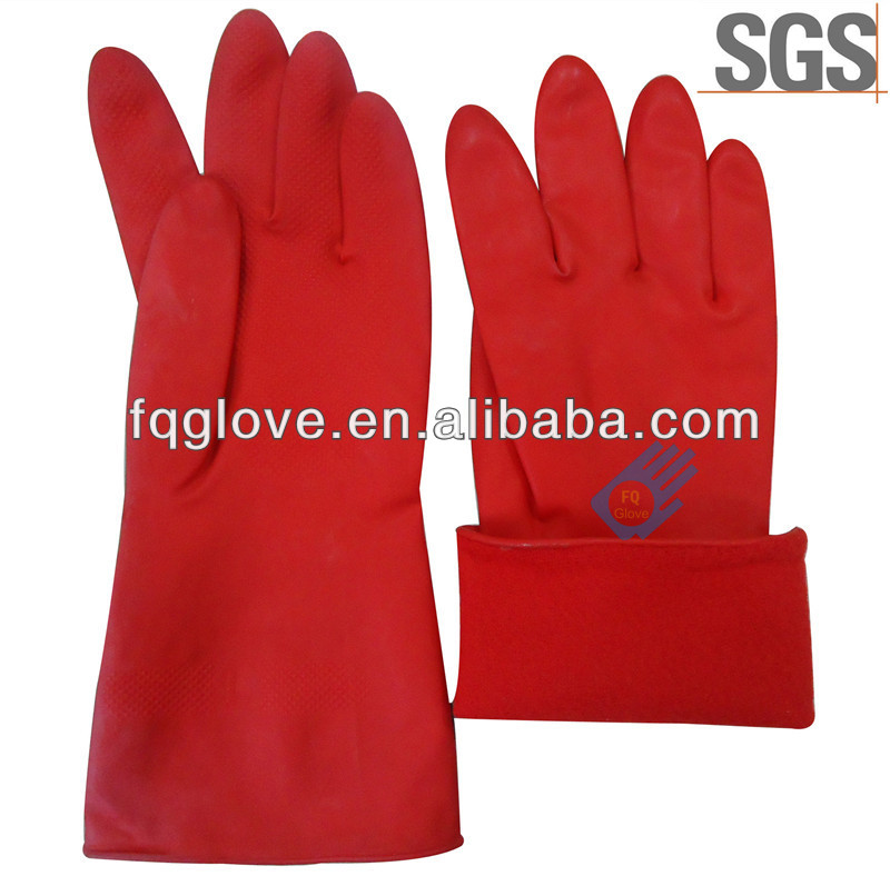 FQGLOVE warm jersey flock inside latex long gloves