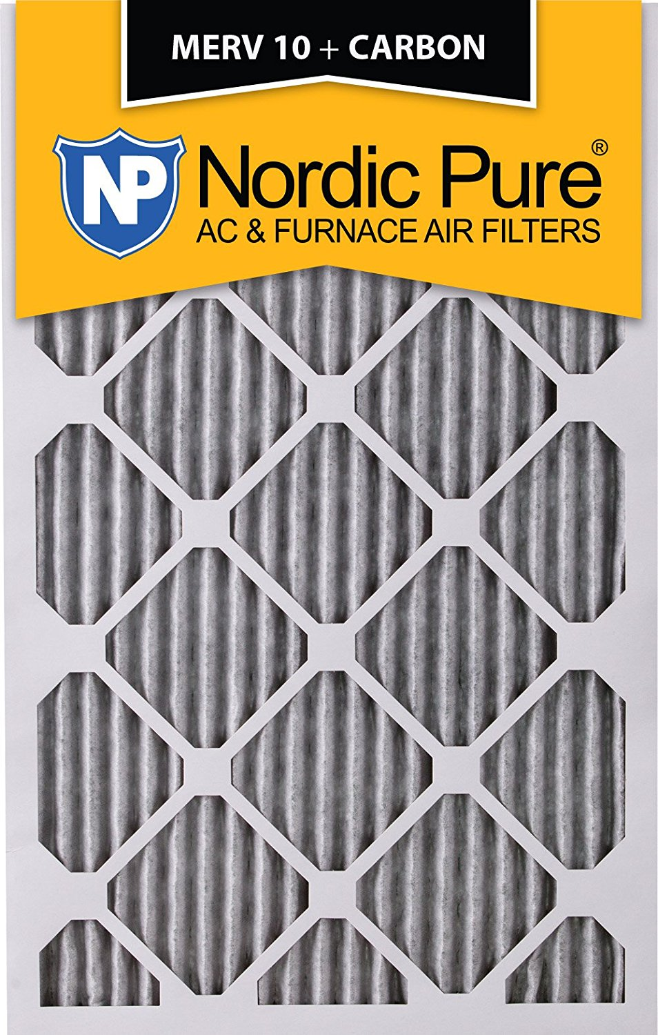 """Nordic Pure 20x25x1PM10C-3 Pleated MERV 10 Plus Carbon AC Furnace Filters (3 Pack), 20 x 25 x 1"""""""