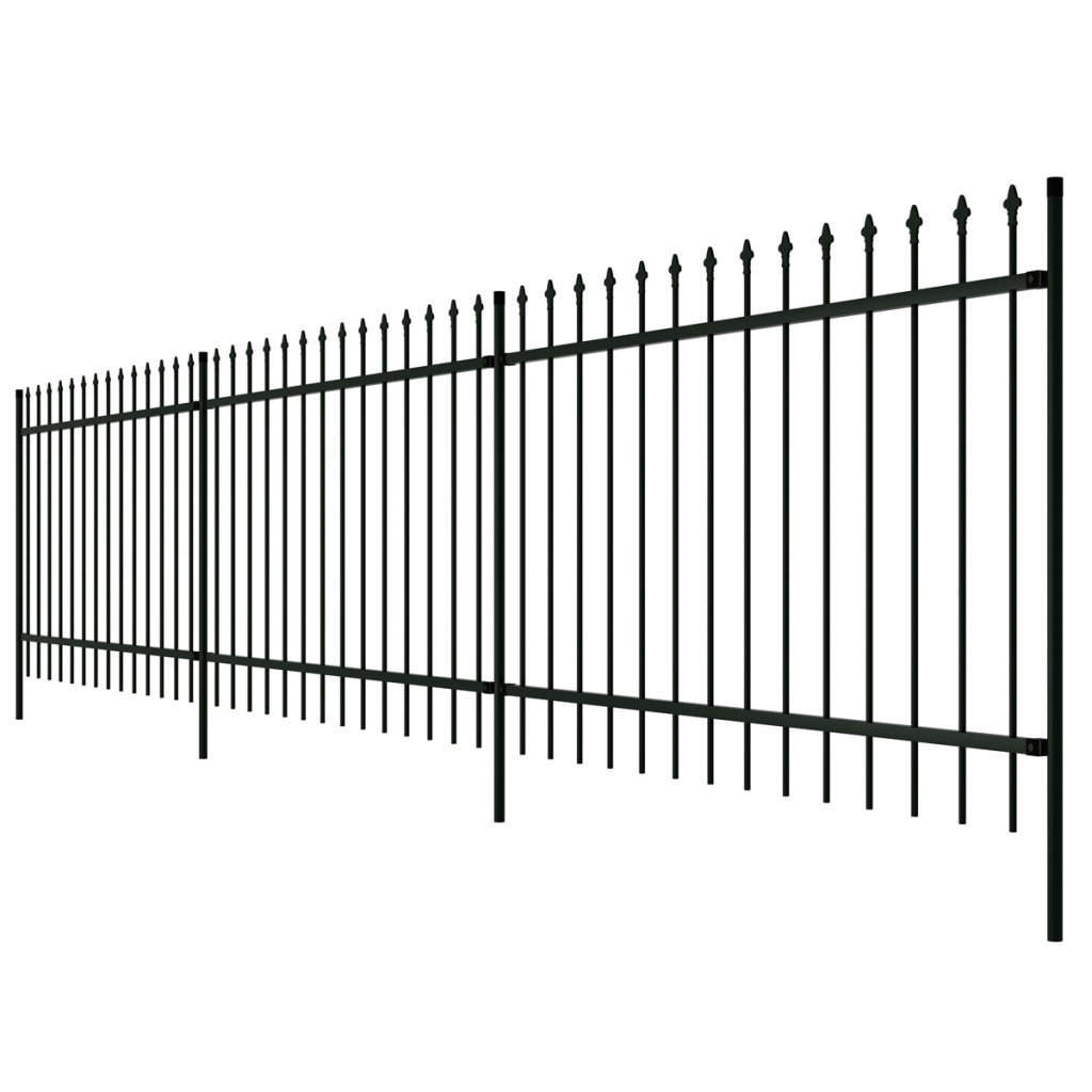 "Festnight 19' 8"" x 4' 11"" Ornamental Security Palisade Fence Steel Spear Top Steel Decorative Fence Garden Practical Barrier Wall Outdoor Décor Black"