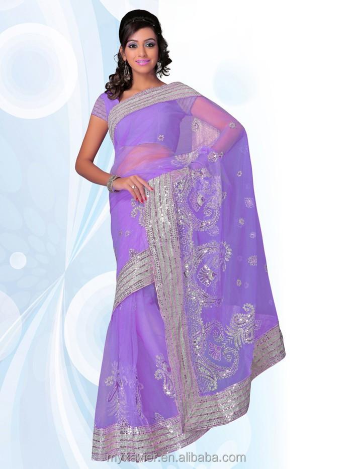 Modern dress of egypt - 2015 Sommer Lila Sari Indien Boutique Kleidung Mit Grenze Stickmuster