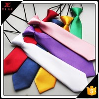 Custom design woven polyester solid color kids elastic neck ties for school