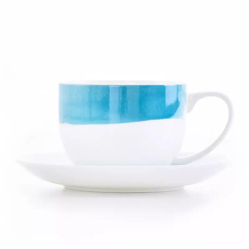 Personalized italain style round mini 100 ml espresso ceramic coffee  cup saucer