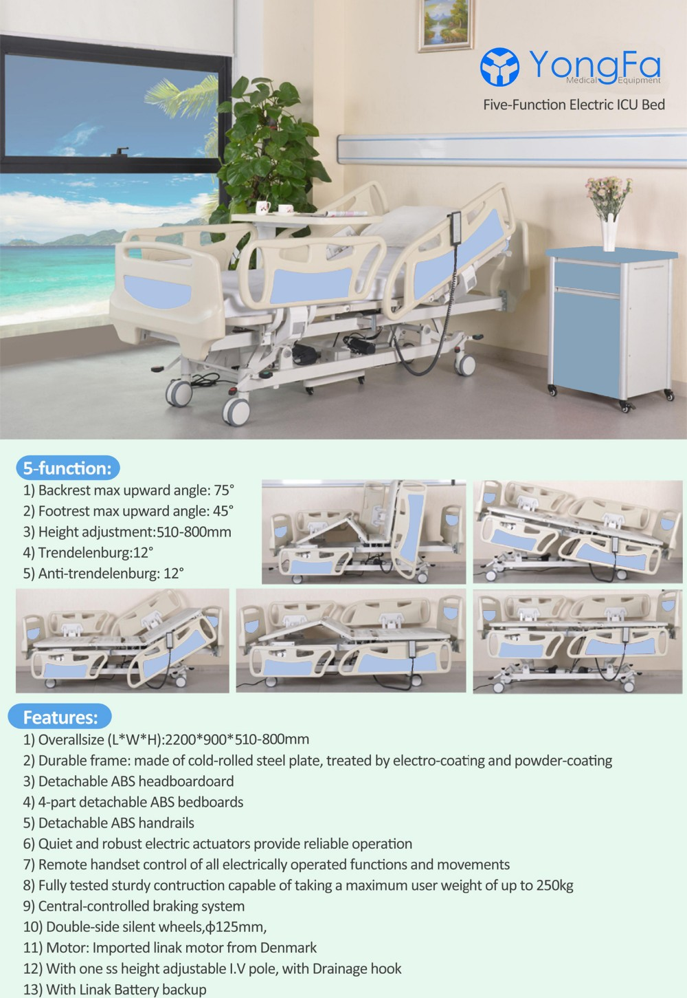 YFD5618K(II) Medical Equipment Five Functions Electric Hospital ICU Bed