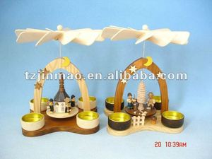 wooden christmas candle windmill pyramid for holiday decoration