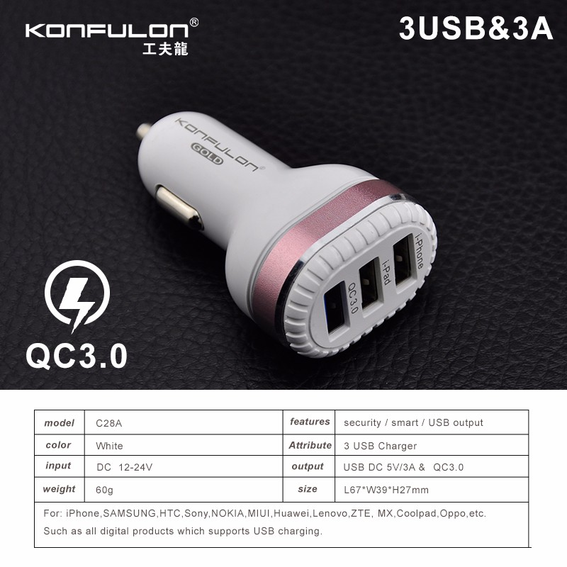 konfulon New design qc3.0 three ports car charger adapter quick charger for iPhone 7