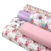 6pcs/set Wholesale Floral Printed Pink Faux Synthetic Leather Sheets Set 90088