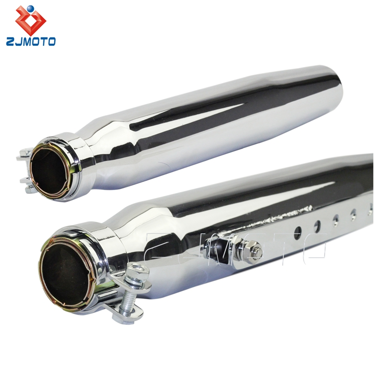ZJMOTO High Quality Steel Chrome Shorty Motorcycle Exhaust Muffler Fits All Vintage Motorcycles