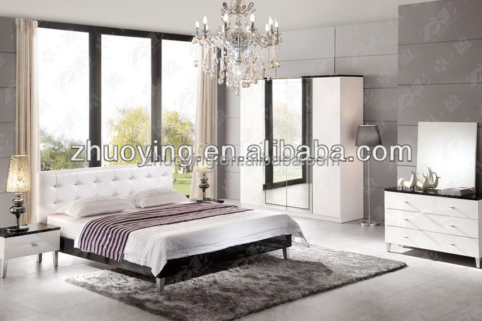 Trade Assurance White High Glossy Bedroom Bed Set Furniture
