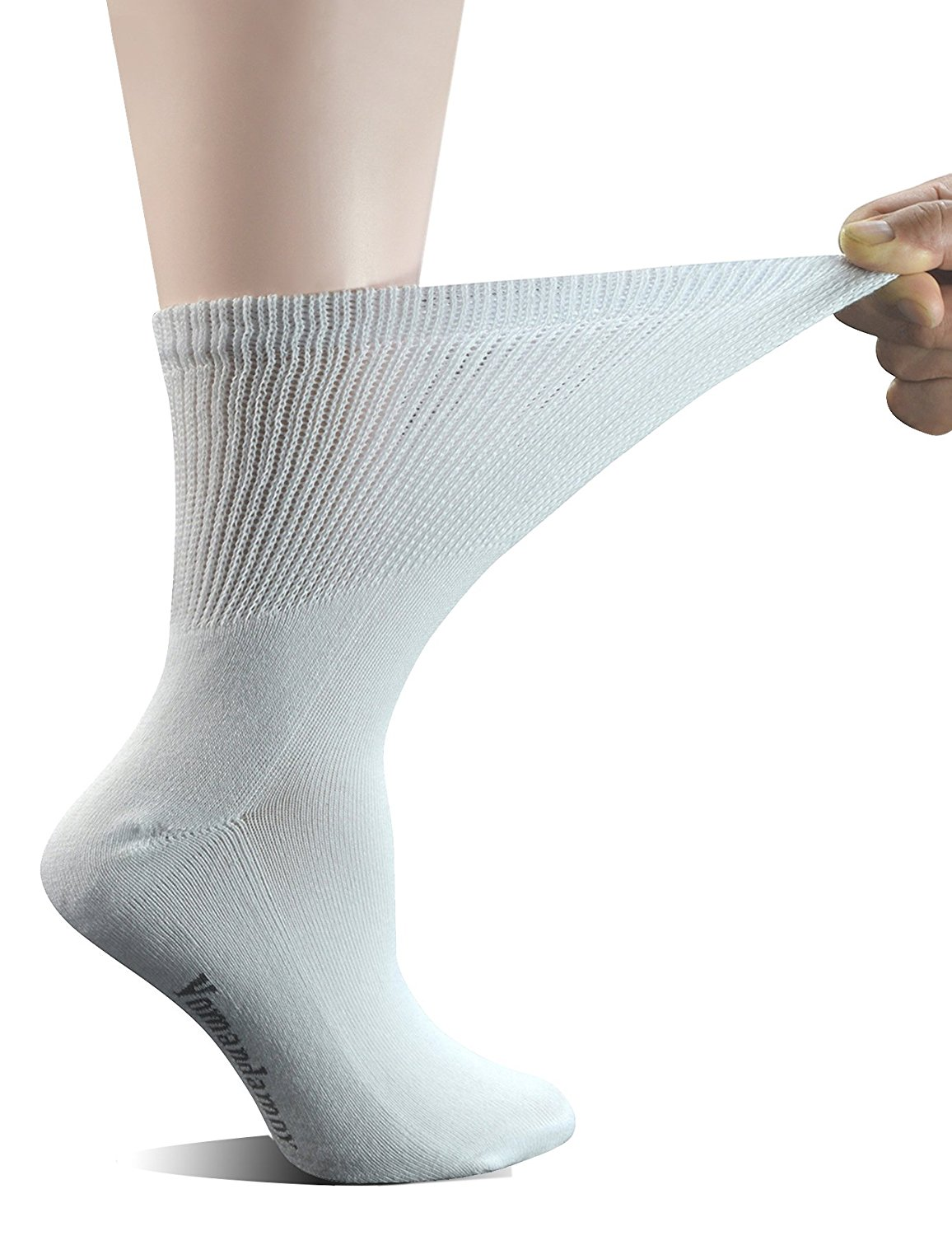 94d0749a8ff61 Get Quotations · Yomandamor Women's 5 Pairs Non-Binding Cotton Crew  Diabetic/Dress Socks with Seamless Toe