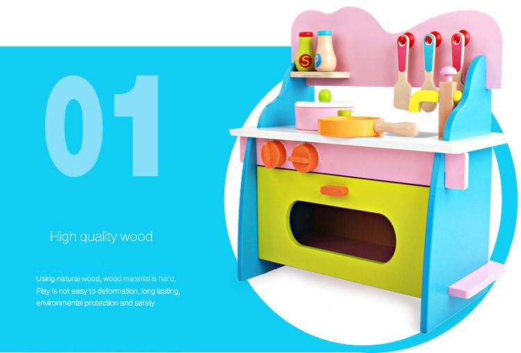new design wooden kitchen toy,girl's wooden play kitchen
