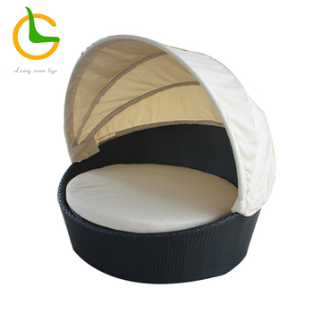 Modern hidden canopy rattan wicker round sofa with cushion