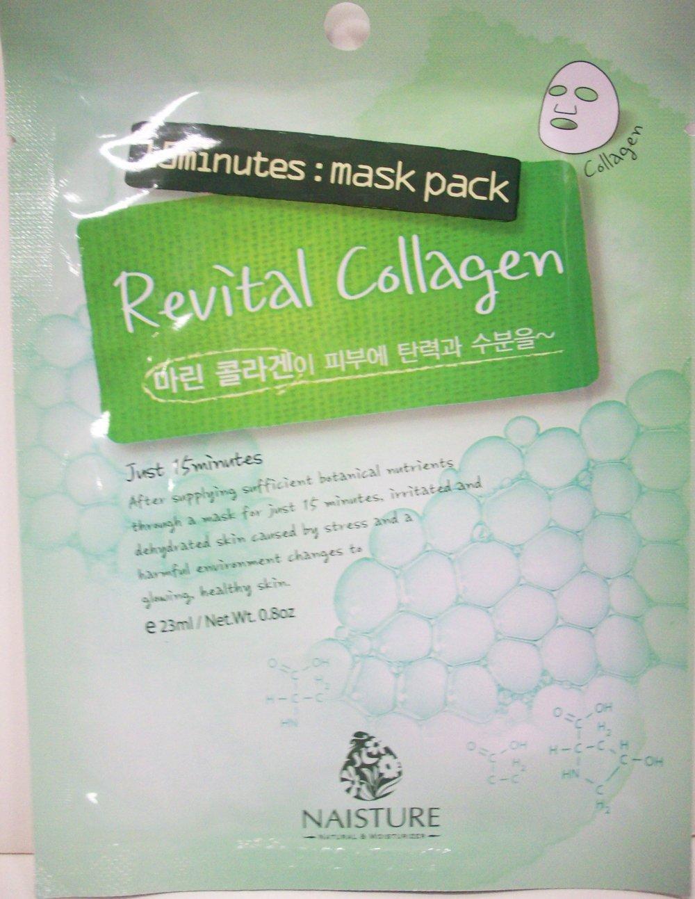 Naisture 15 Min. Collagen Essence Facial Mask Sheet Pack - Revital Collagen 10pk (e 23ml)