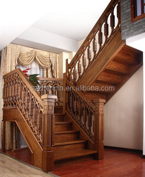 Luxury antique solid wooden staircase