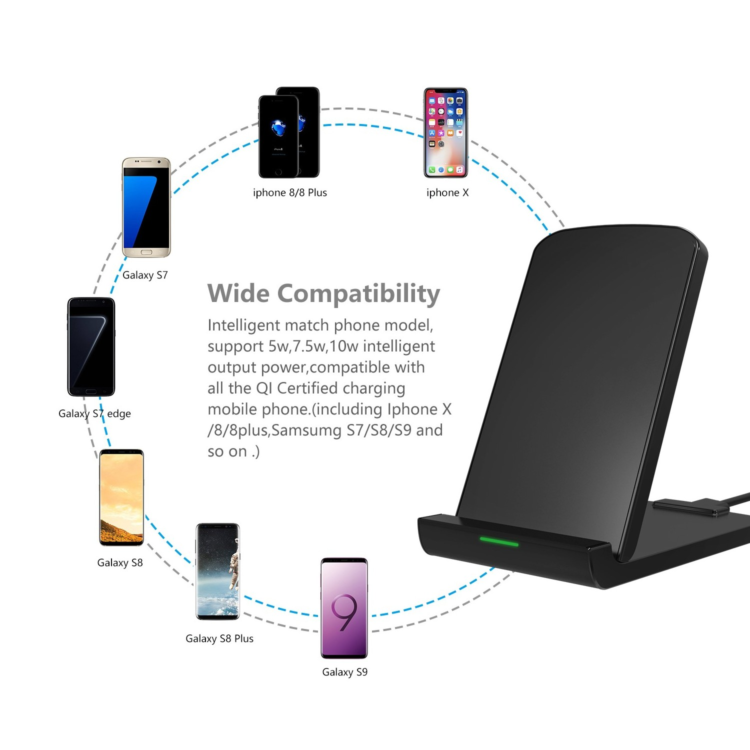 Newest collapsible design wireless fast charging stand for Iphone x/8/8 plus  samsumg S7/S8/S9