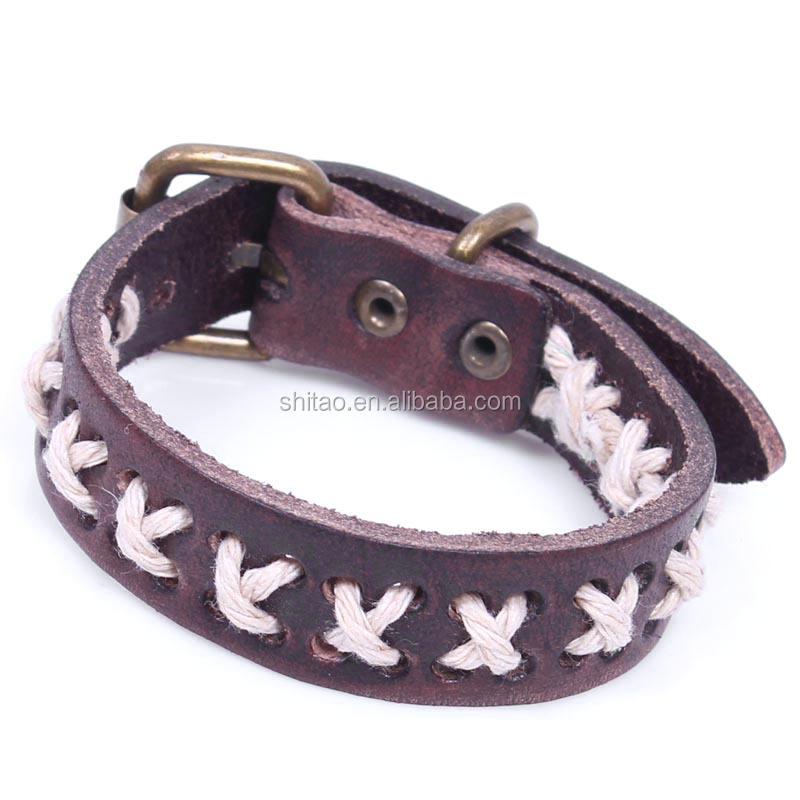 Wholesale High Quality Rope Cotton Leather bracelet for Men