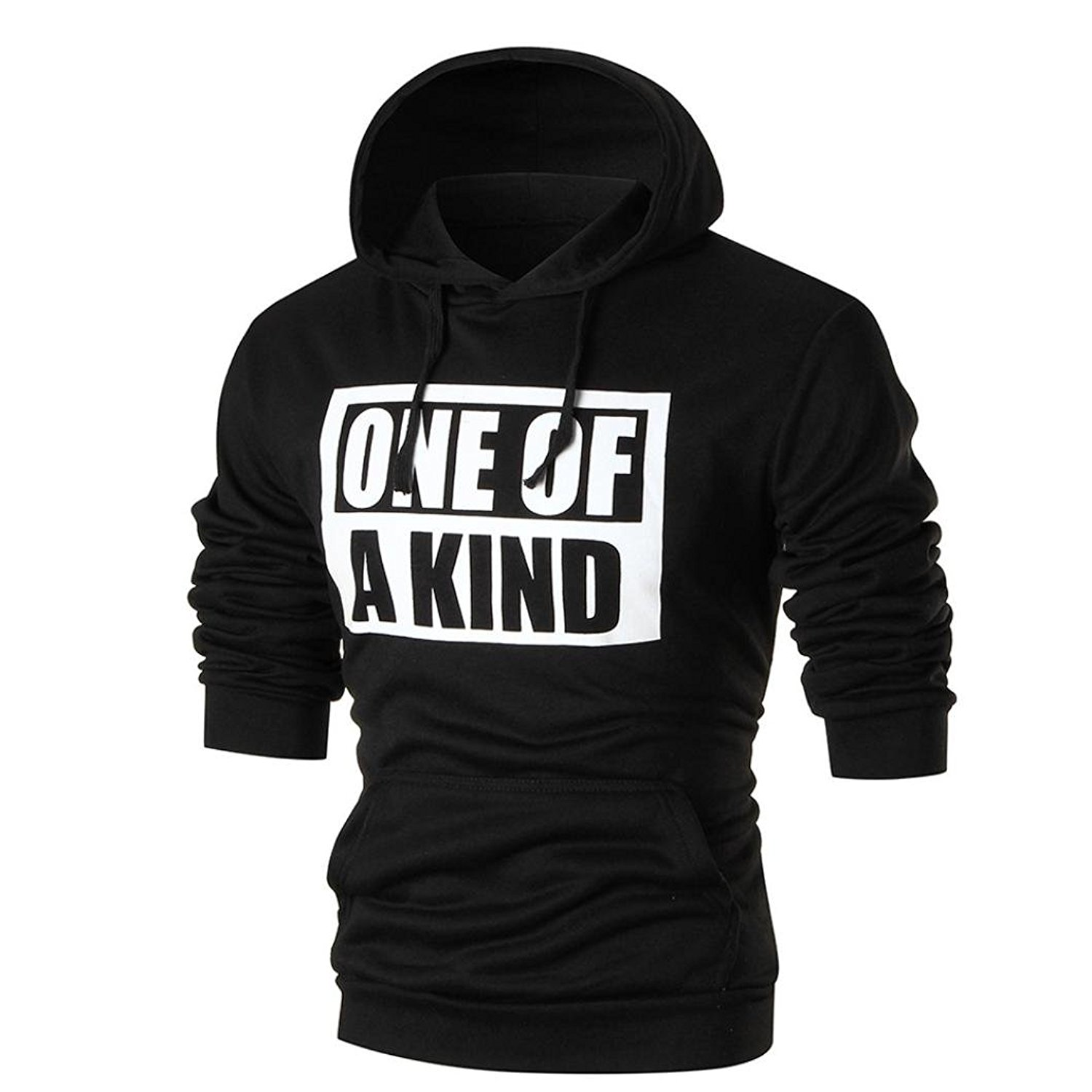 Bokeley Hot Sale,Men Hoodies, Casual Long Sleeve One of A Kind Letter Print Pullover Slim Fit Hooded Sweatshirt