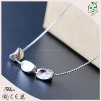 Pure Plain Fashion Irregular Shape Plating Rhodium Popular 925 Sterling silver Necklace