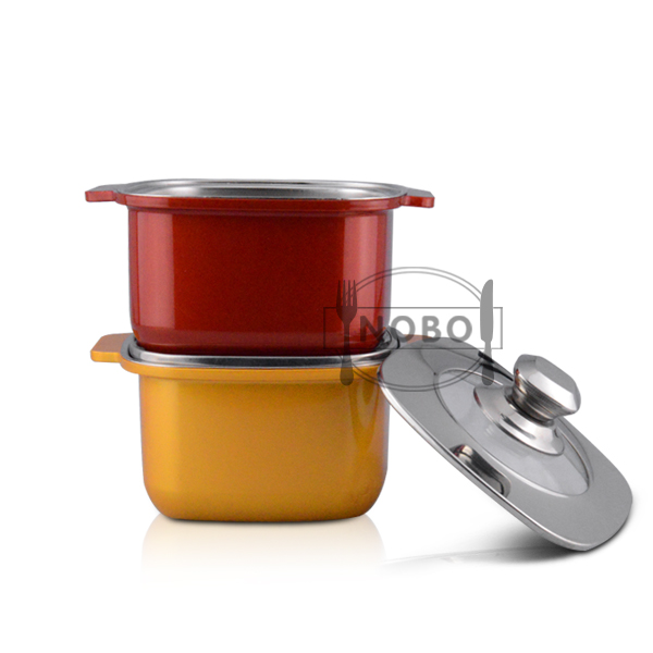 Kitchen space saving square stainless steel cookware set colored cookware with plastic outside