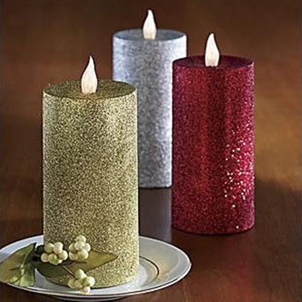 Led Christmas Decorative Candles Glitter Wax Pillar Candles - Buy ...