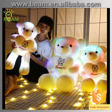 2017 new design LED light teddy bear plush toy,colourful teddy bear toy,giant plush teddy bear for kid