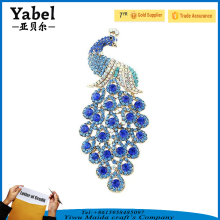 Wholesale Big Size Blue Austrian Crystal Brooches Peacock Brooch Women