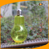 Wholesale 16 oz Custom Wide Mouth Juice Drinking LED Flashing Plastic Light Bulb Bottle With Metal Cap