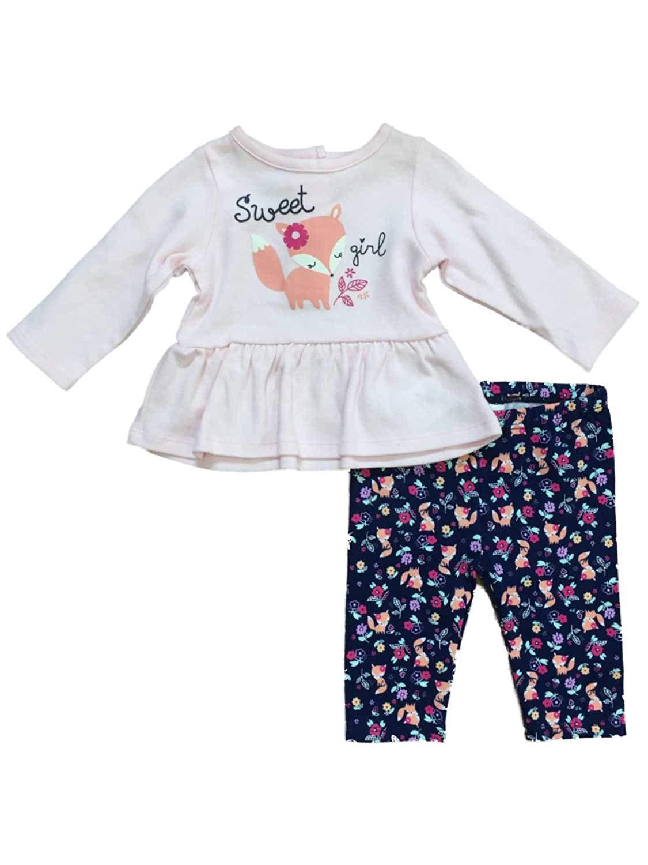 811464b36 Little Wonders Infant Girls Sweet Girl Baby Outfit Pink Fox Ruffle Shirt &  Leggings Set
