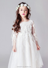 Girl Dress New Tulle Flower Girl wedding Dresses Trắng Ren Dài Tay <span class=keywords><strong>Trẻ</strong></span> <span class=keywords><strong>Em</strong></span> <span class=keywords><strong>evening</strong></span> Gown ED720