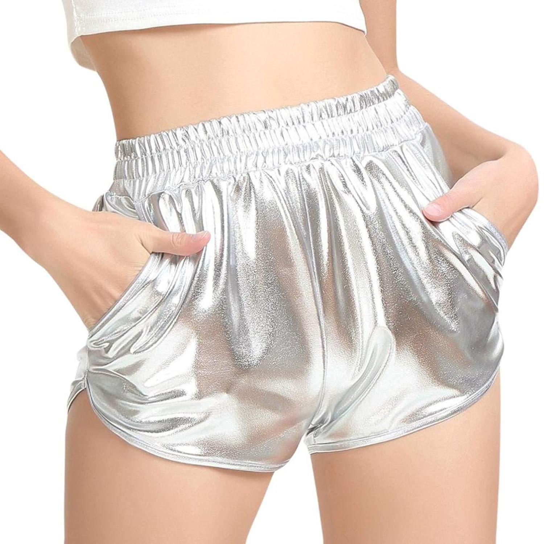 63bccdd965 Hot Sale! Women Teen Girl Fashion Yoga Hot Shorts Shiny Metallic Pants Summer  Sports Workout