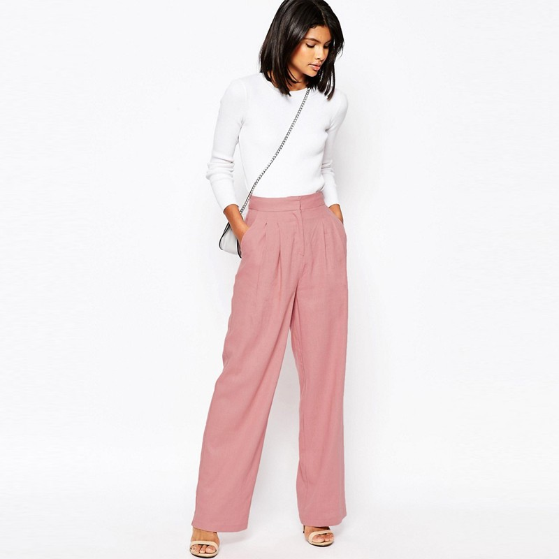 17f94013ea068 Ecoach wholesale fashion pink plus size casual wide leg pants in linen  women linen trousers