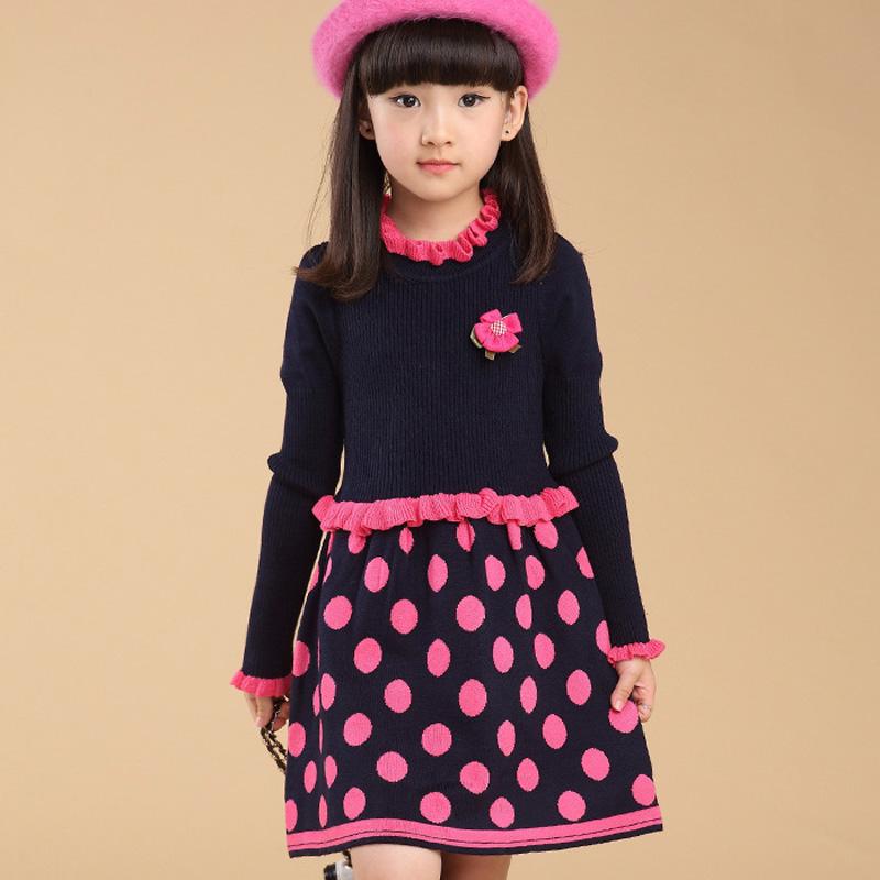 Chinese font b Dresses b font Teenagers Baby Girl Winter Polka Dot Knitting font b Dress