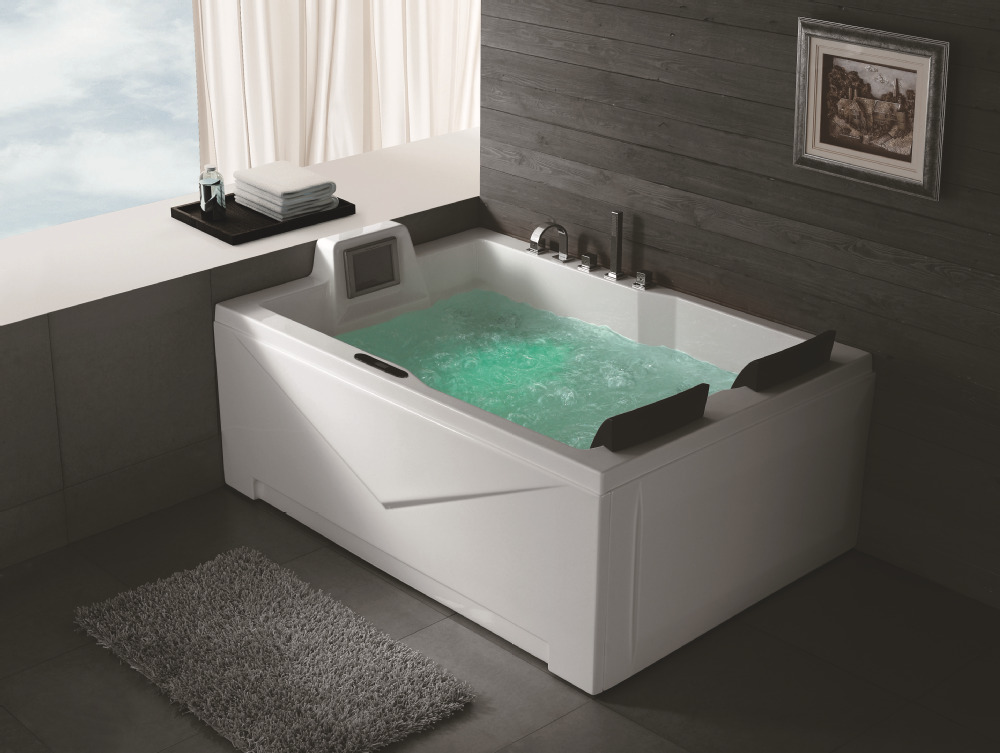 hs bc667 2 person jetted double whirlpool bathtubs with tv. Black Bedroom Furniture Sets. Home Design Ideas