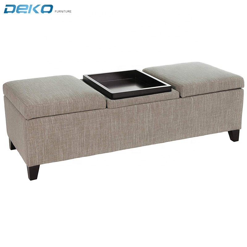 Home faux Leather fabric  Storage Tray Bench Ottoman