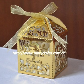 laser cut leaves favor box for giftwholesale bridal shower party gift box gold silver