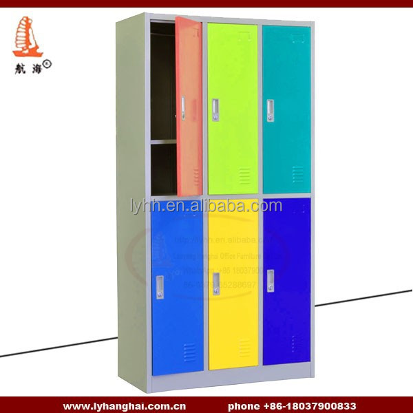 Nursery school furniture institutional Storage furniture 6 compartment KD structure practical 6 door school furniture locker