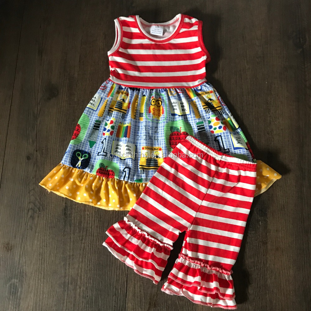 2017 US baby clothing sets kids back to school boutique outfits back to school cotton clothes
