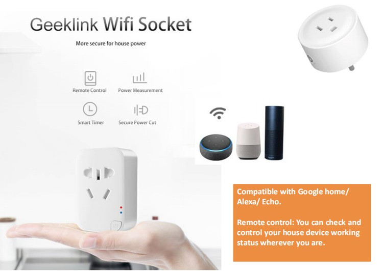 Geeklink App remote control security protection wireless Thinker mini gateway wifi us standard plugs power socket smart home hub
